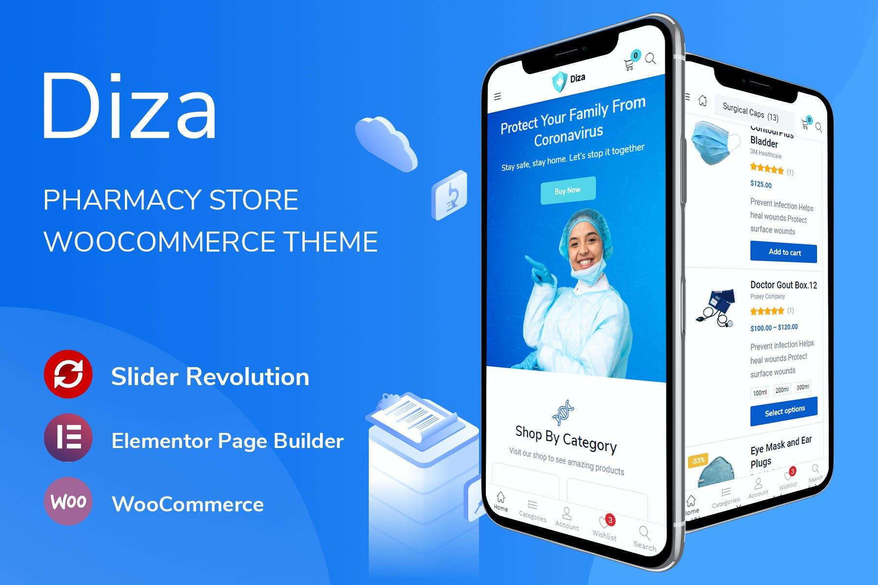 医疗口罩风格WooCommerce主题wordpress模板Diza