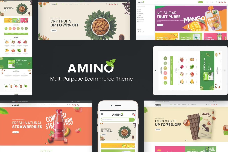 环保绿色机食品商店的Prestashop主题模板amino