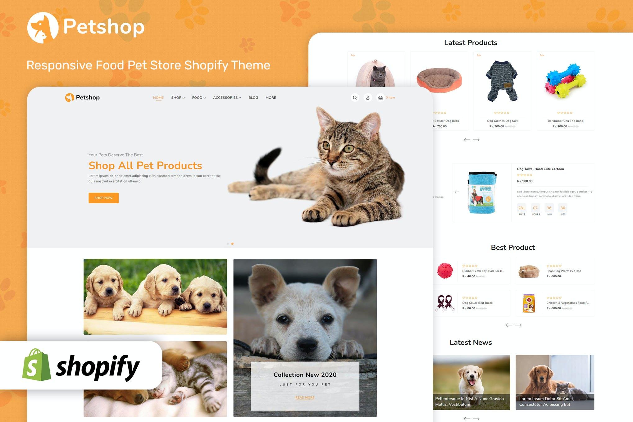 宠物商城风格shopify主题模板Petshop